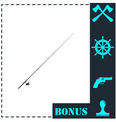 fishing rod icon flat vector image