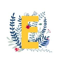 Floral alphabet letter e vector