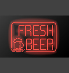fresh beer neon sign or emblem on black background vector image