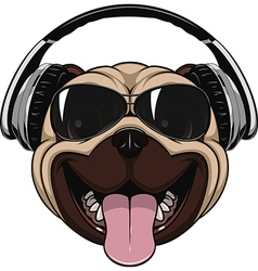Funny laughing pug vector