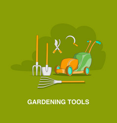 Gardening tools concept cartoon style vector