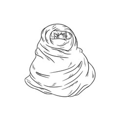 Girl in warm cozy blanket outline coloring vector