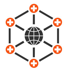 Global medical network flat icon vector