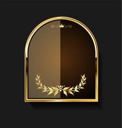 Golden shield and laurel wreath retro design 16 vector
