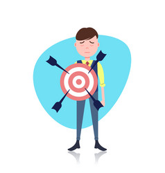 Grieved man character holding target arrow goal vector