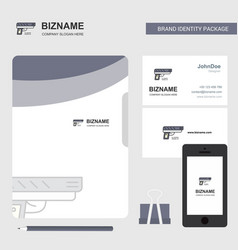 gun business logo file cover visiting card and vector image