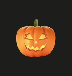 halloween pumpkin with black background vector image