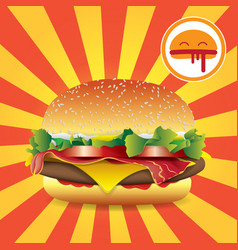 hamburger fast food on the background of strips vector image