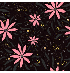 hand drawn seamless pattern with pink flowers vector image
