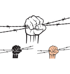 Hand holding barb wire vector