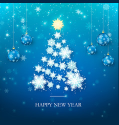 happy new year greeting card in blue colors vector image
