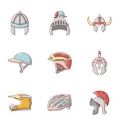 Headpiece icons set cartoon style vector