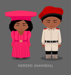 herero people in national clothes vector image
