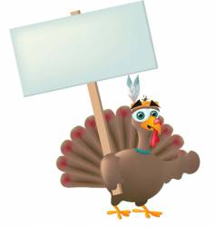 Indian turkey with sign vector image