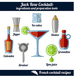 jack rose cocktail infographic set isolated vector image