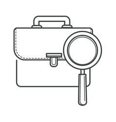 Job hunting symbol magnifying glass and portfolio vector