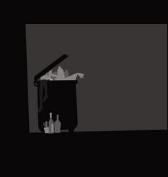 landfill full junk in a dark corner vector image