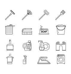Line Art Household Cleaning Symbols Accessories vector image