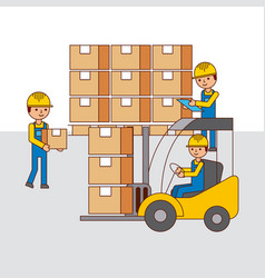 Logistic warehouse people forklift and cardboard vector