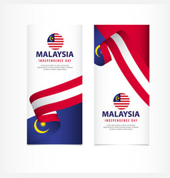 Malaysia independence day celebration banner set vector
