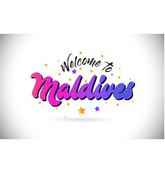 Maldives welcome to word text with purple pink vector