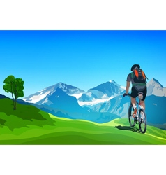 Man cyclist traveling on Alps vector