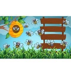 Many bees flying in garden with signs vector image