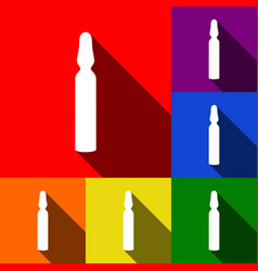 medical ampoule sign set of icons with vector image