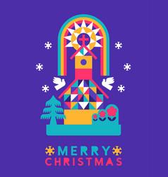 merry christmas abstract folk winter church card vector image