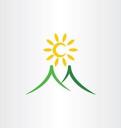 Mountain sun nature landscape icon vector