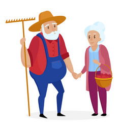 Old farmer with his wife elderly couple senior vector