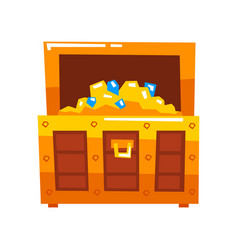 opened wooden chest full of gold and diamonds vector image