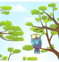Owl sittin on tree in wild nature in sky with vector