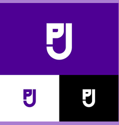 P and j letter monogram shield web icon vector