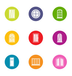 Painted window icons set flat style vector