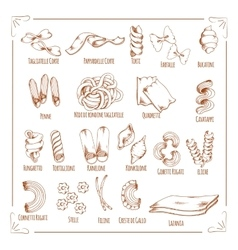 Pasta and macaroni sorts sketch icons vector