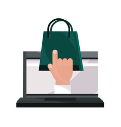 Payments online laptop shopping bag clicking flat vector