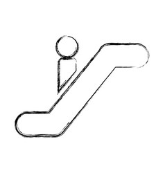 Person silhouette in escalators vector