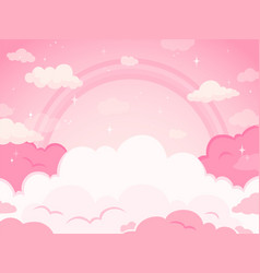 pink fairytale sky background with stars and vector image