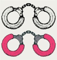 Pink handcuffs vector