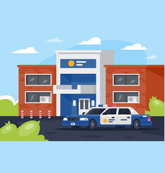 police station with car in working day vector image