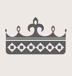 Queen crown grey silhouette with sharp spires on vector