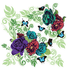 roses and butterflies ornament vector image