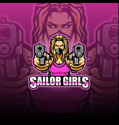 sailor girl esport mascot logo vector image
