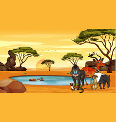 Scene with animals pond vector