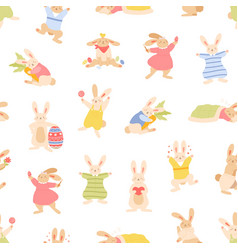 seamless easter pattern with cute bunnies and vector image
