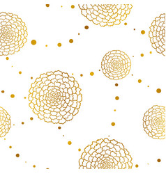 seamless pattern with golden marigolds and beads vector image
