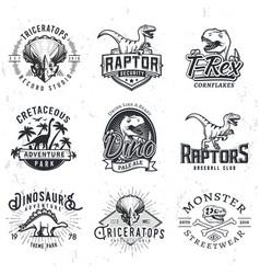set dino logos t-rex skull t-shirt concept vector image