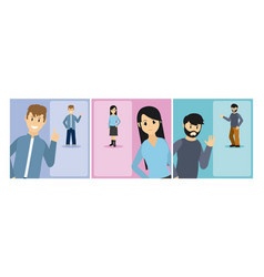 set of young people cartoons vector image