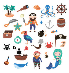set pirates cartoon objects adventures vector image